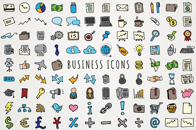 Icons set stickers clip. Planner clipart business planner