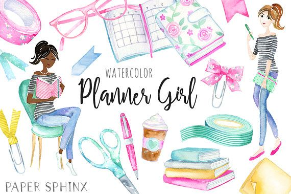 Watercolor girl fashion illustration. Planner clipart business planner