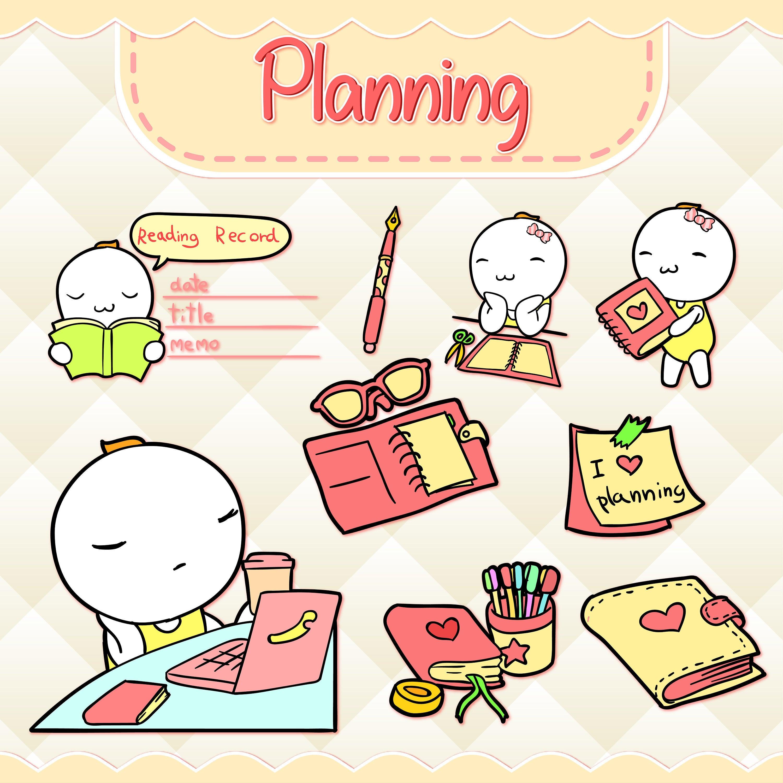 Planner clipart clip art. Planning kawaii design download