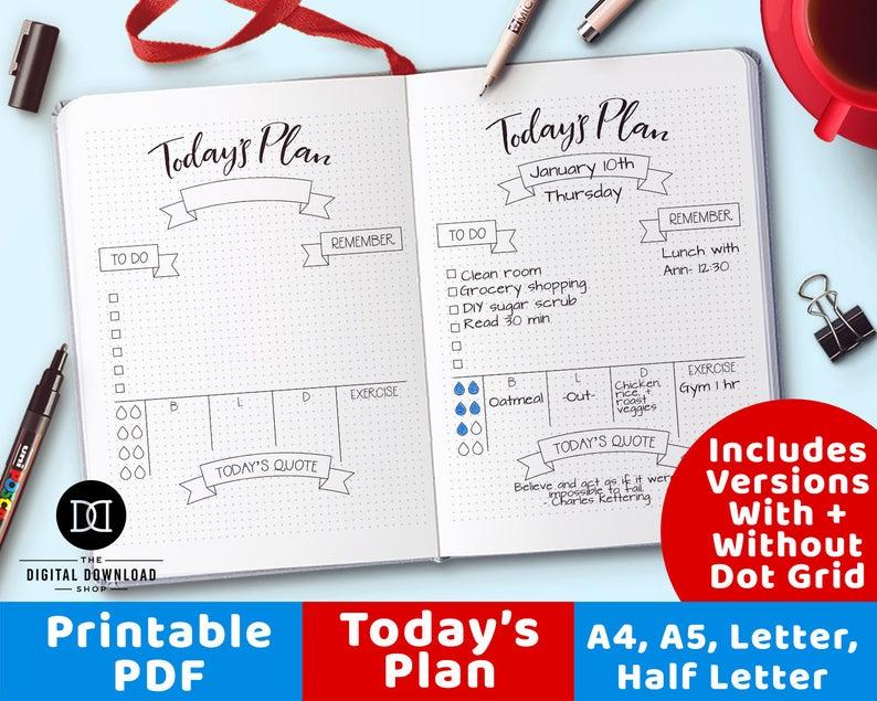 Printable bullet journal bujo. Planner clipart daily log