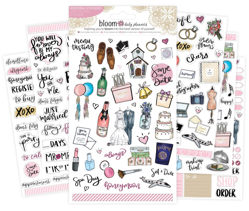 Sticker sheets wedding planning. Planner clipart daily plan