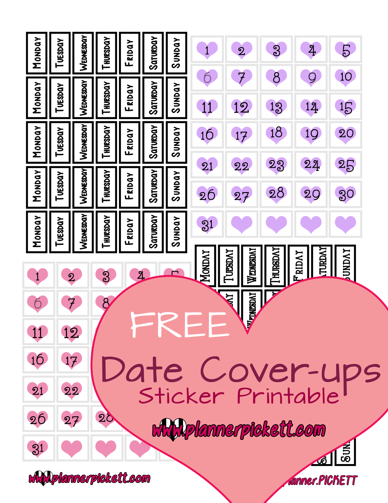 Pickett free date cover. Planner clipart diary dates