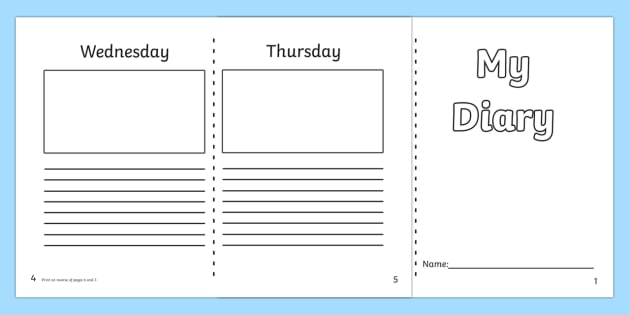 Template ks day writing. Planner clipart diary entry