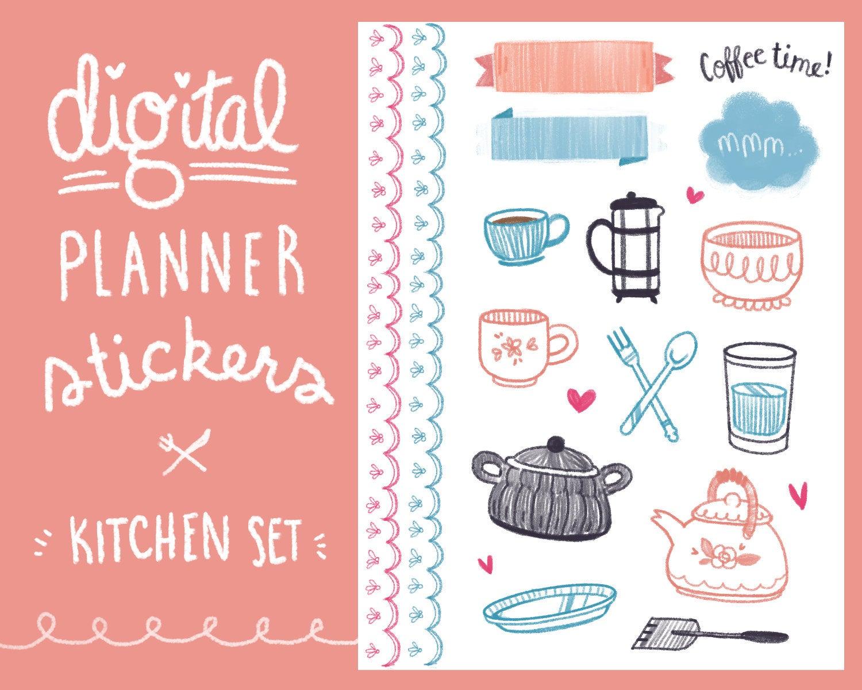 Planner clipart diary entry. Kitchenware digital sticker set