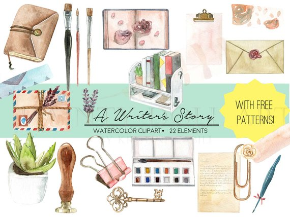 Planner clipart diary writing. Writer vintage watercolor digital