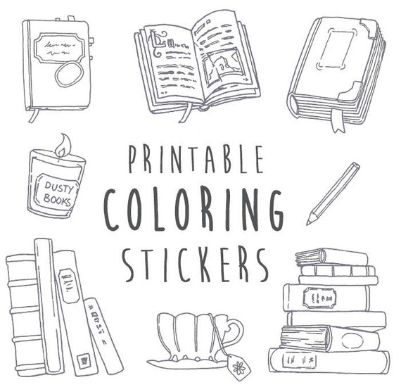 Nanowrimo books coloring stickers. Planner clipart diary writing
