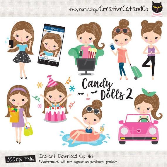Planner clipart digital. Girl lifestyle sticker cute