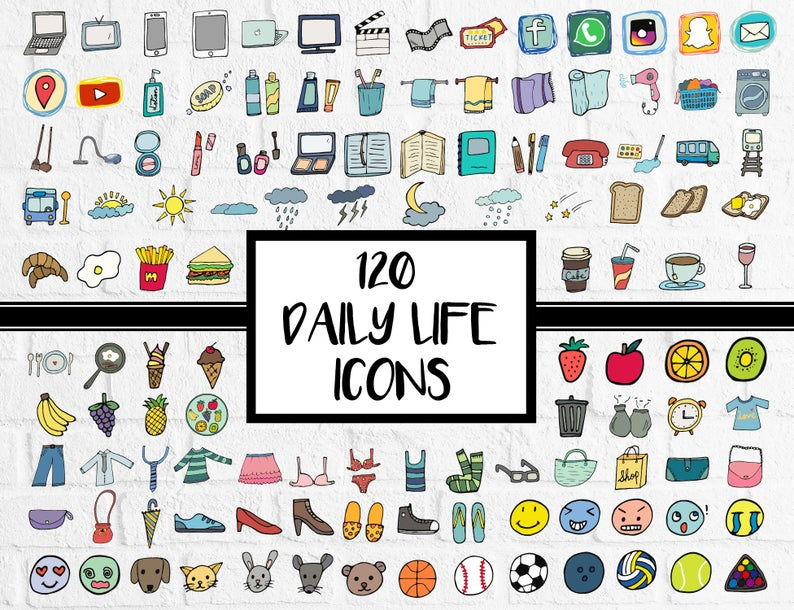 Planner clipart everyday object. Daily icons stickers journal