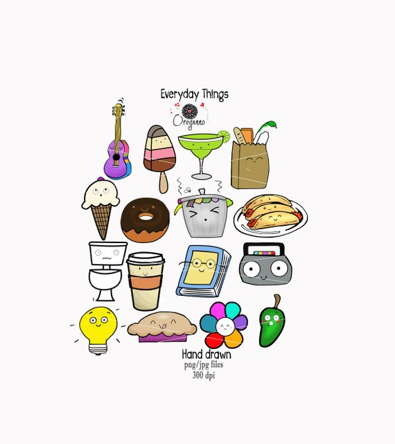 Items food junk . Planner clipart everyday object