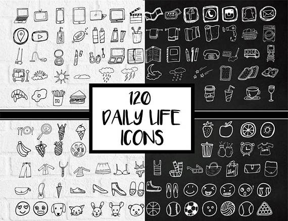 Planner clipart everyday object. Daily icons stickers