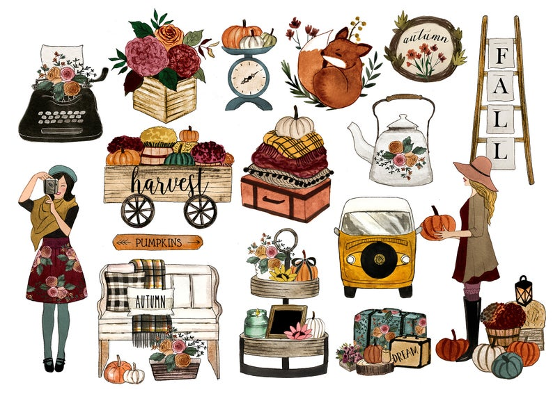 Planner clipart fall. Girl quotes thanksgiving digital