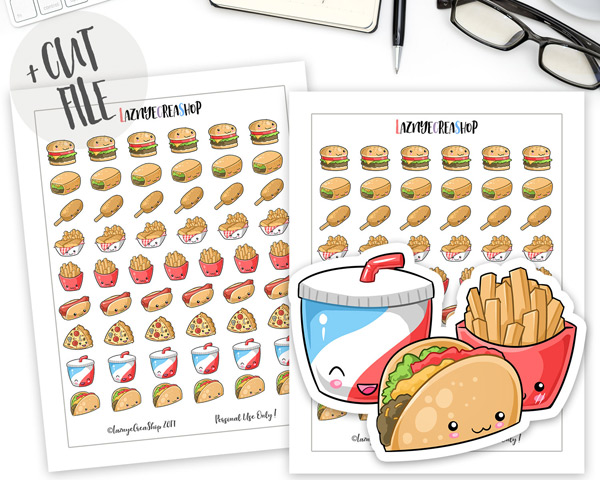 Planner clipart food diary. Kawaii printable for journal