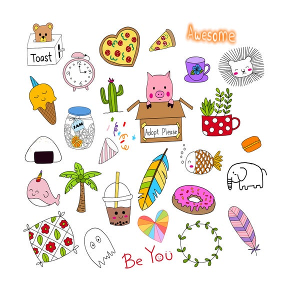 Hand drawn cute doodle. Planner clipart guide book