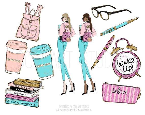 Girl college fashion illustration. Planner clipart handbook