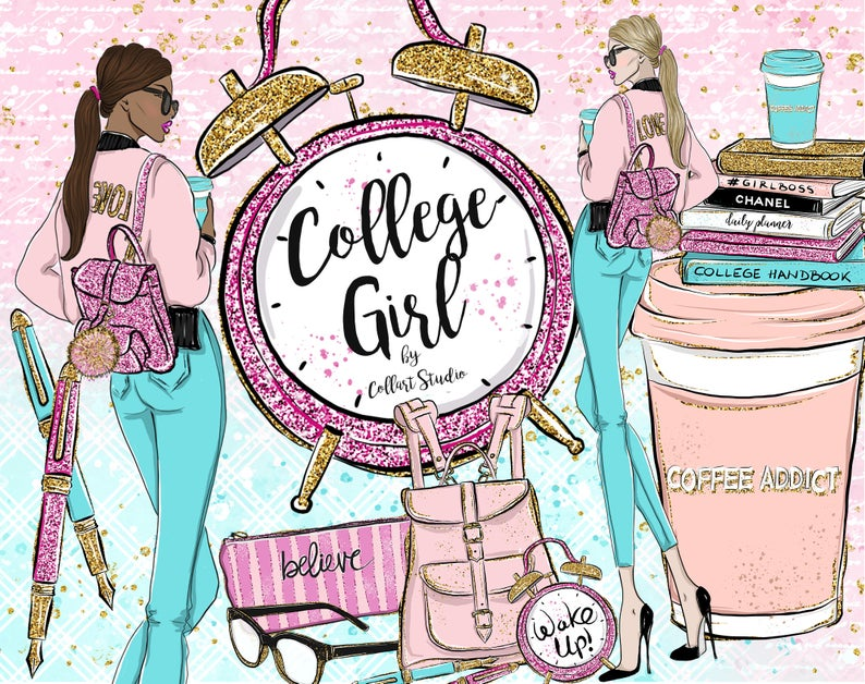 Planner clipart handbook. Girl college fashion illustration