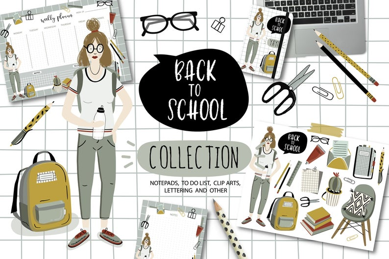 Planner clipart lab notebook. Back to school clip