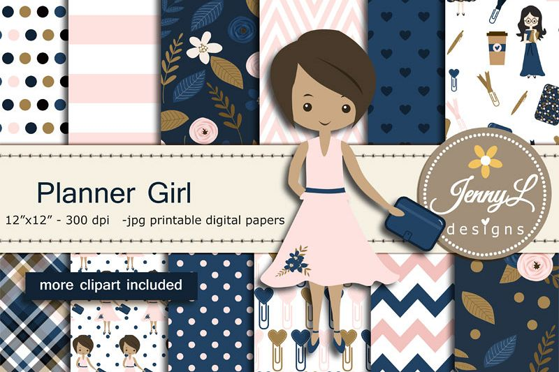 Girl digital papers and. Planner clipart lab notebook