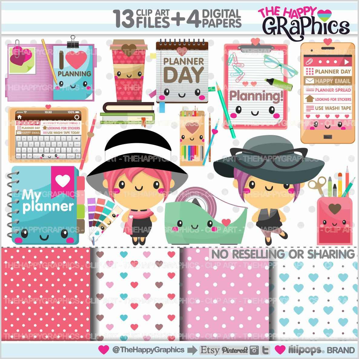 Graphics commercial use kawaii. Planner clipart life plan