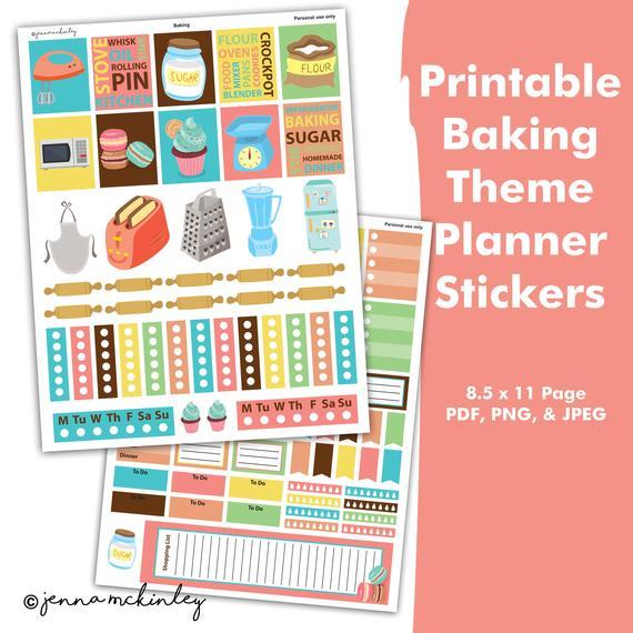 Printable stickers baking bakery. Planner clipart planning calendar