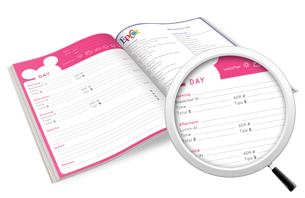 Disney itinerary and diary. Planner clipart preperation