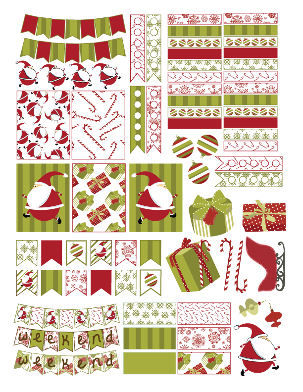 Planner clipart preperation. Free christmas sticker printable