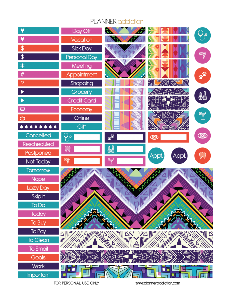 Free printable tribal aztec. Planner clipart preperation
