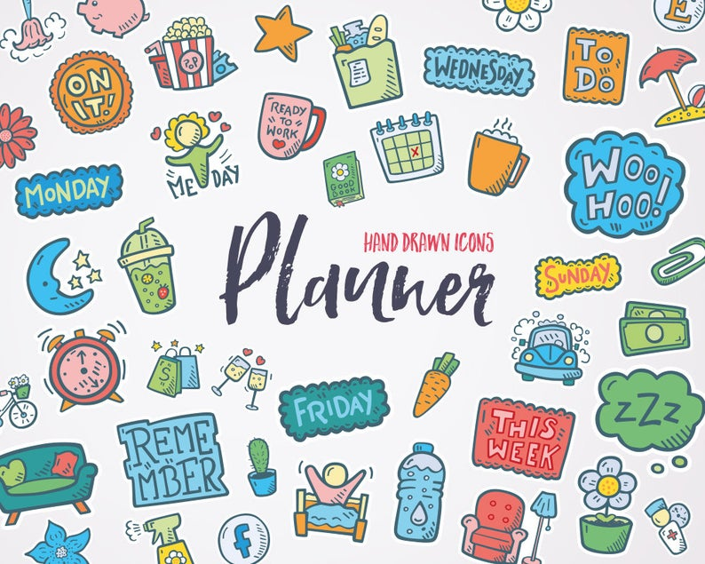 Planner clipart printable. Icons doodle scrapbook and