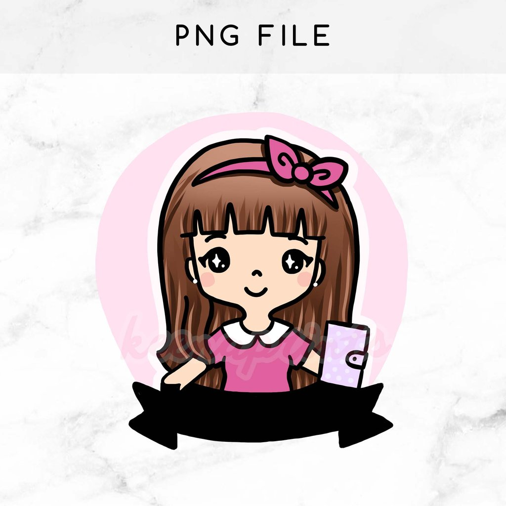 Planner clipart printable. Pre made chibi girl