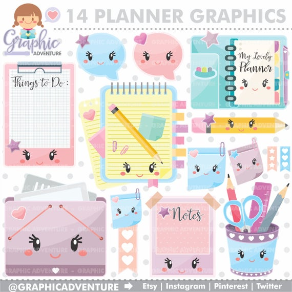 Graphics elements commercial use. Planner clipart product planning