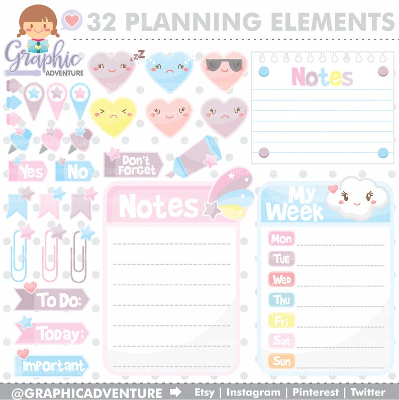 Planner clipart product planning. Graphic elements commercial use