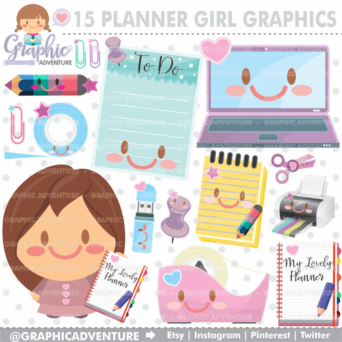 Graphics girl . Planner clipart product planning