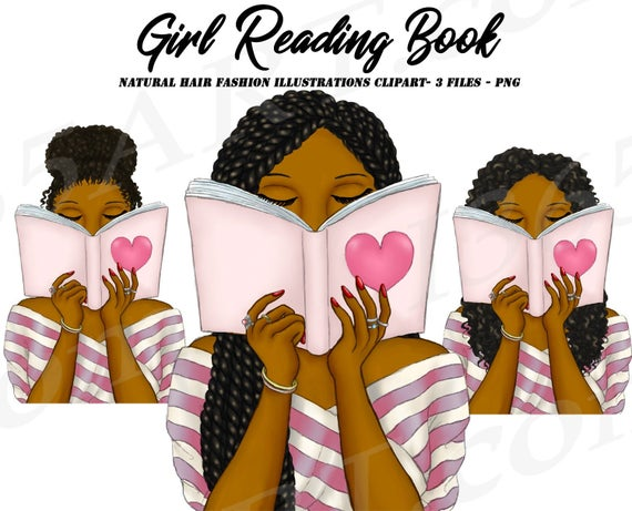 Planner clipart reading diary. Girl natural hair fashion
