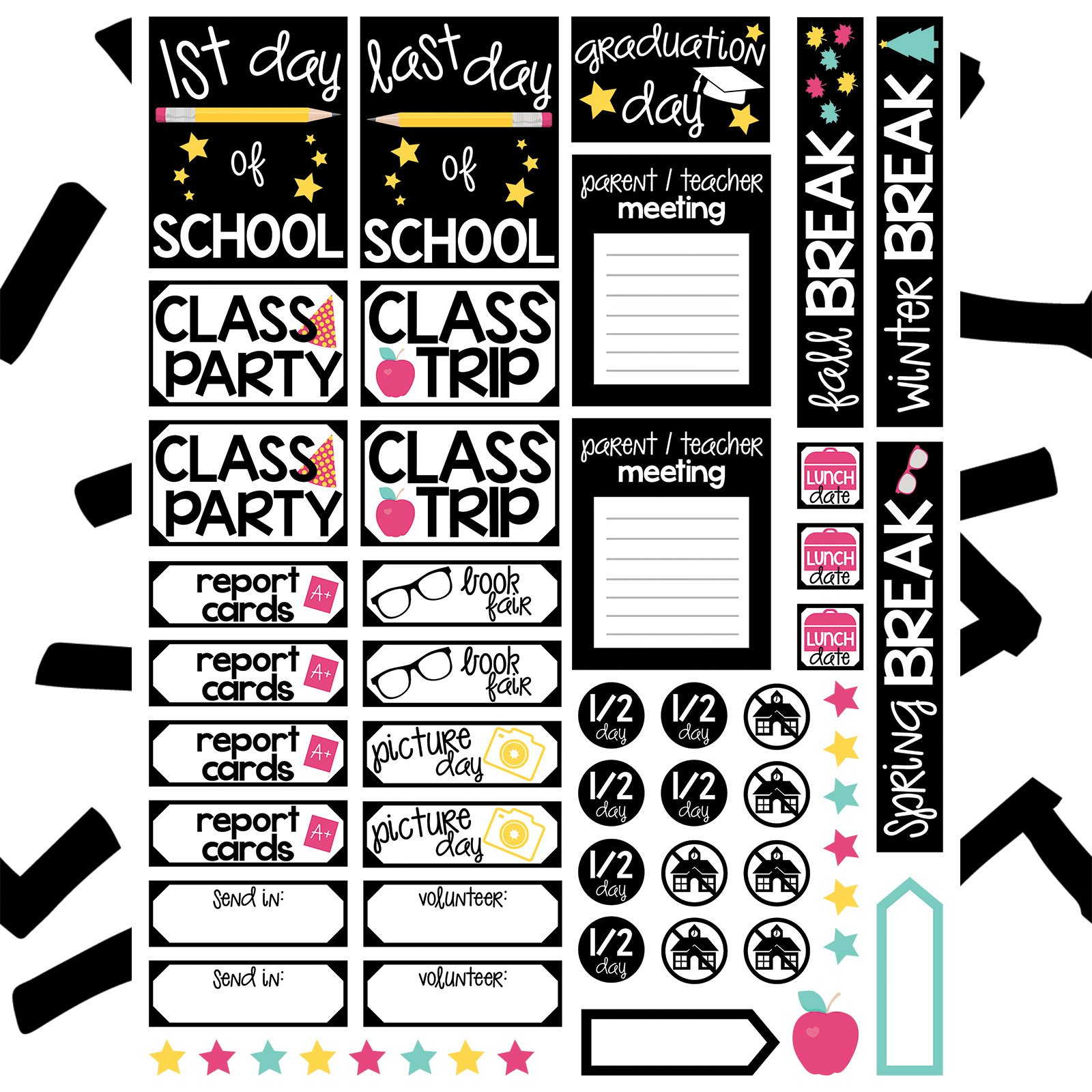 Stickers free file kelly. Planner clipart school report