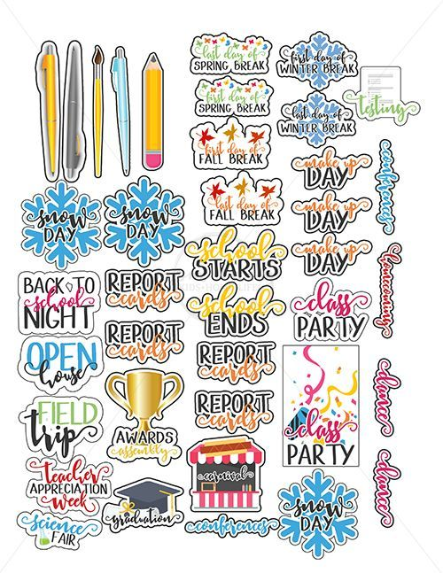 Back to stickers perfect. Planner clipart school report