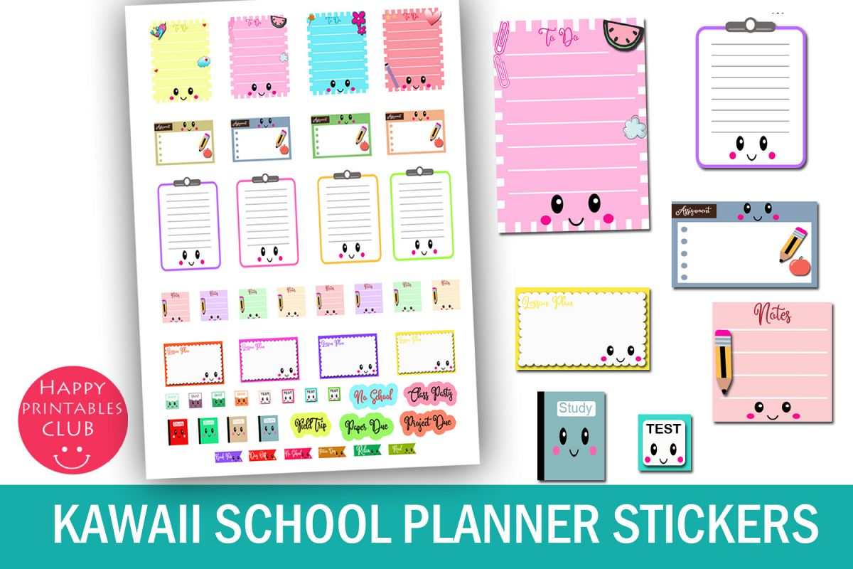 Kawaii stickers . Planner clipart school report