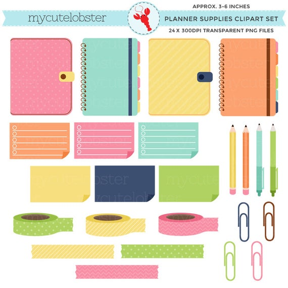 Supplies set planners sticky. Planner clipart small