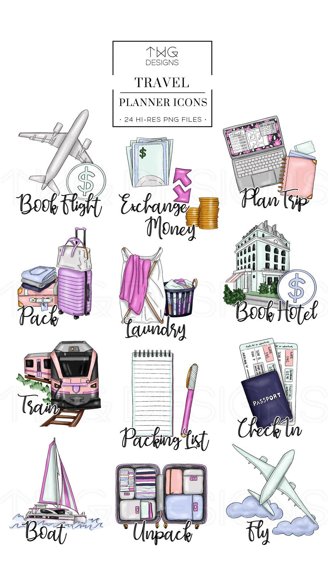 Planner clipart specification. Travel icons clip art