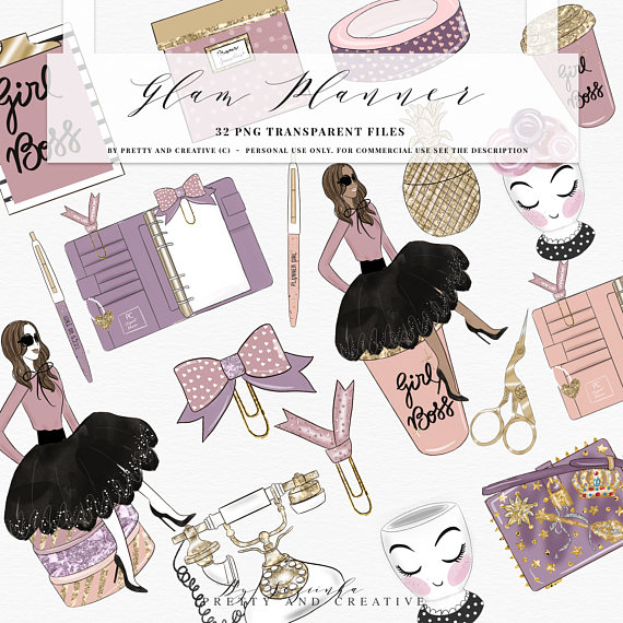 Planner clipart specification. Glam girl boss