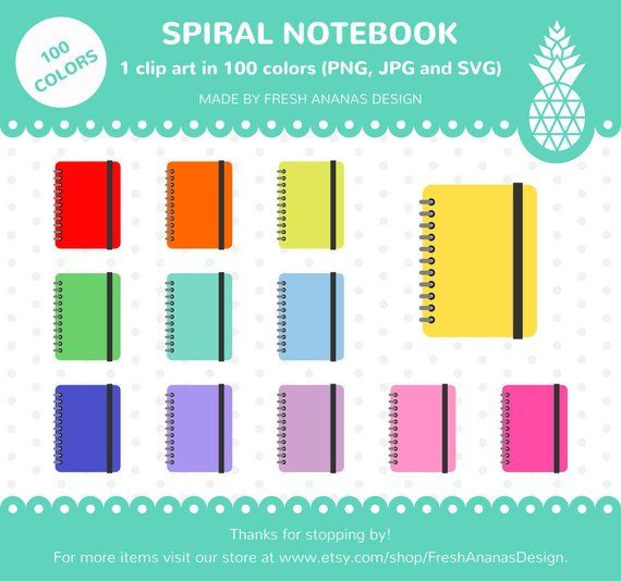 colors clip art. Planner clipart spiral notebook