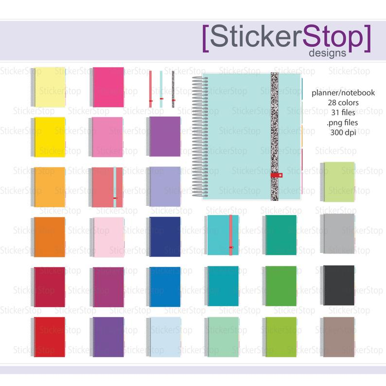 Colors png digital instant. Planner clipart spiral notebook