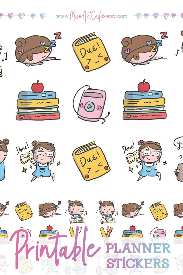 Character doodle printable stickers. Planner clipart study plan