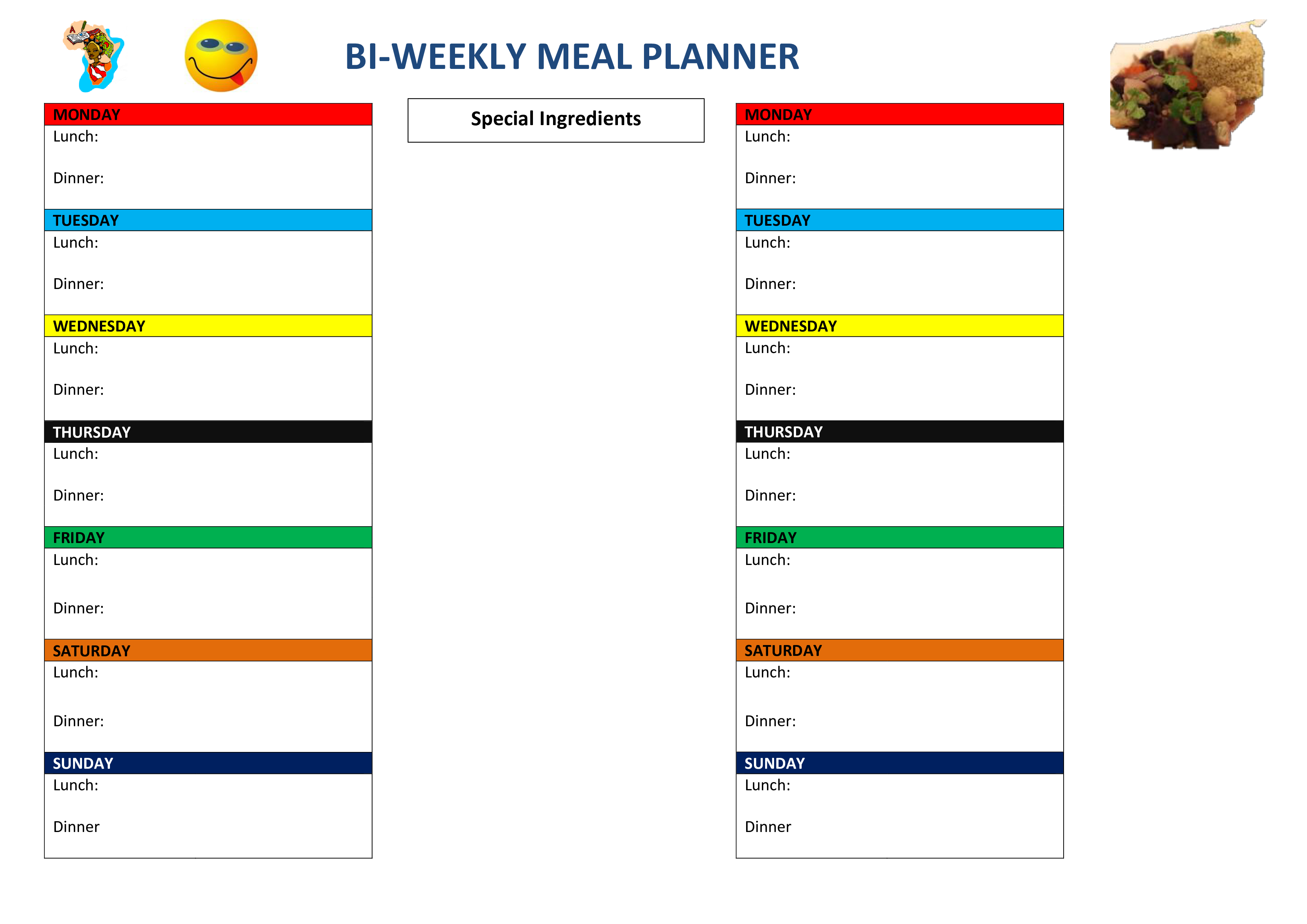 Meal templates images gallery. Planner clipart supper