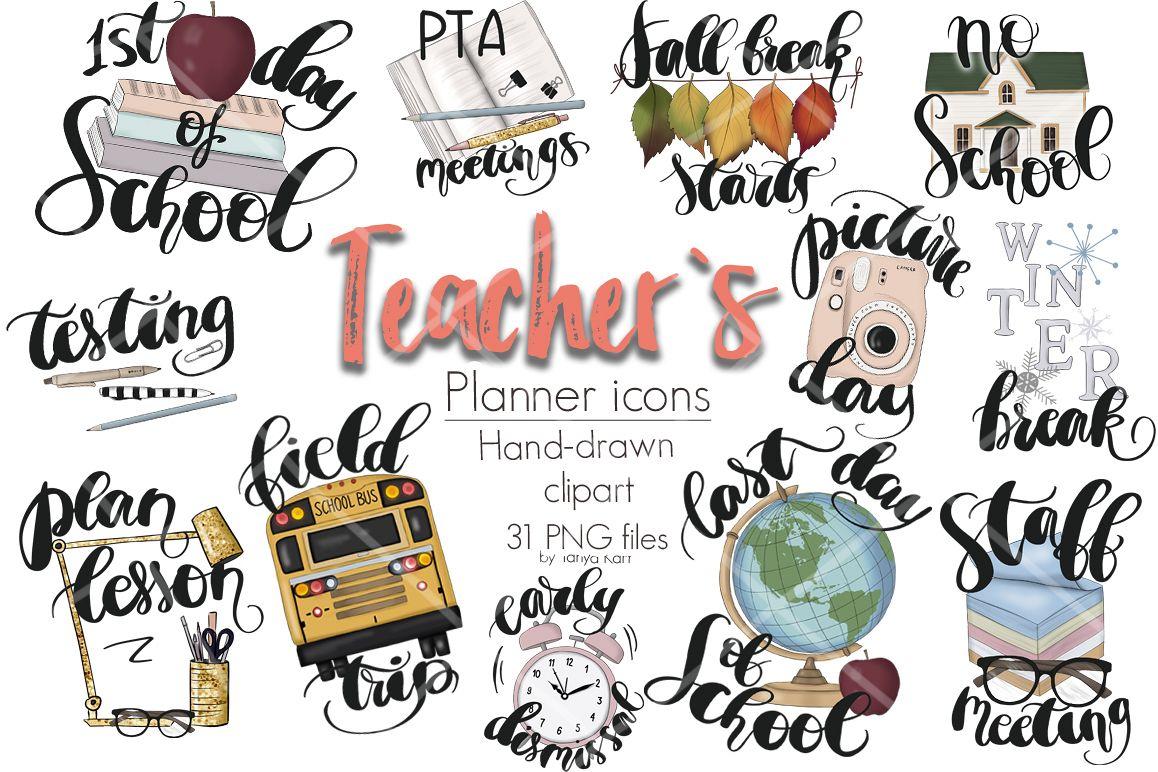 Planner clipart teacher. Icons kit