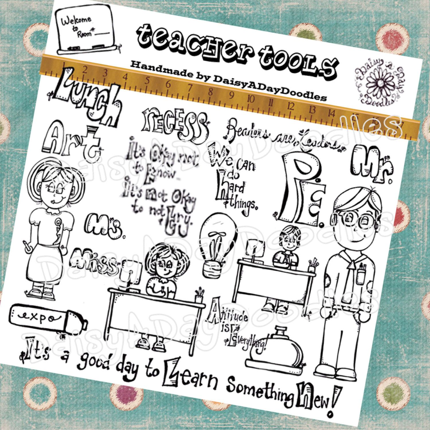 Perfect for teachers classroom. Planner clipart teacher tools