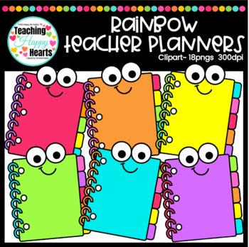 Rainbow planners . Planner clipart teacher