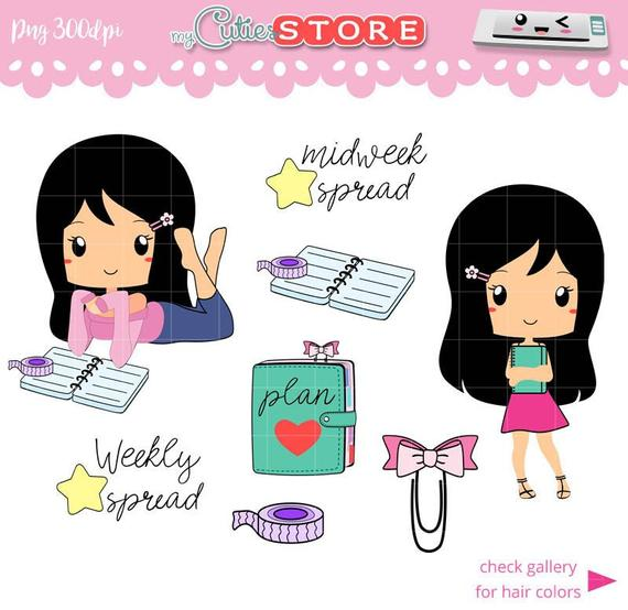 Planner clipart time plan. Outlined planning chibi set