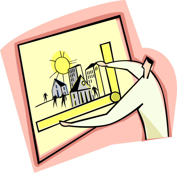 Planner clipart urban planner. Or city vector image