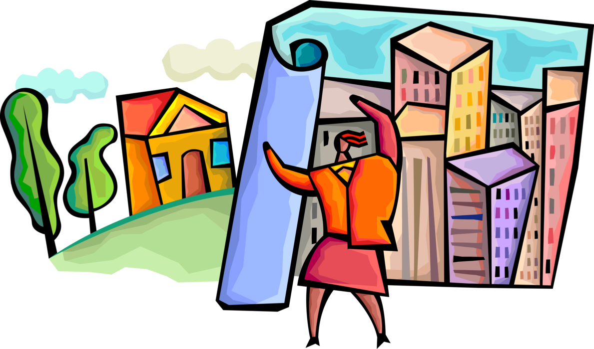 Planner clipart urban planner. Guides land development vector