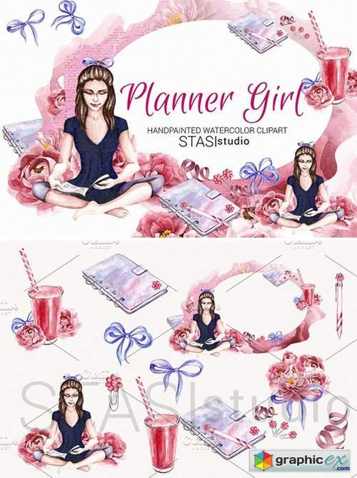 Girl watercolor free download. Planner clipart vector