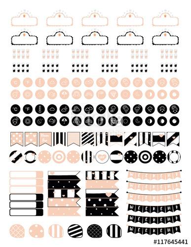 Planner clipart vector. Minimalistic set of elements